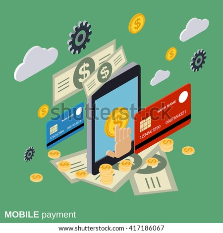 Mobile payment, online banking, money transfer, financial transaction flat isometric vector concept illustration