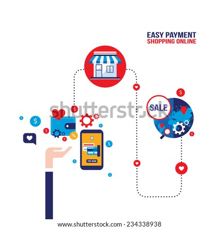 Mobile payment Online shopping and e-commerce concept - stock vector