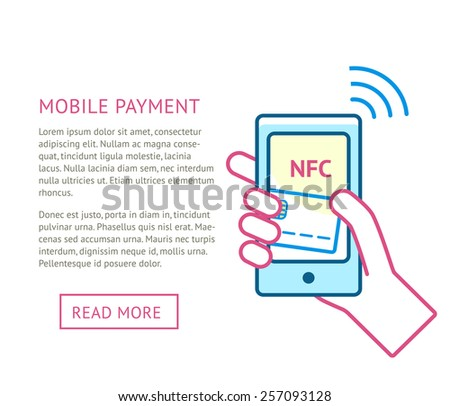 Mobile payment processing concept. Hand holding modern smartphone with credit card and NFC on screen and radio wave. Near field communication technology.Vector line illustration with space for text - stock vector