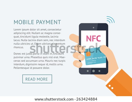 Mobile payment processing concept. Hand holding modern smartphone with credit card on the screen and NFC radio wave outside. Near field communication technology. Vector Illustration - stock vector