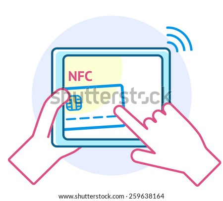Mobile payment processing concept. Hand holding modern tablet computer with credit card and NFC on its screen and radio wave outside. Near field communication technology. - stock vector