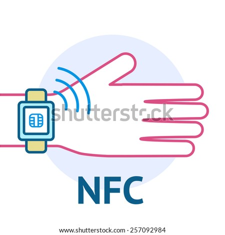 Mobile payment processing concept. Hand with modern smartwatch with credit sign and NFC on its screen and radio wave outside. Near field communication technology.Vector line illustration - stock vector