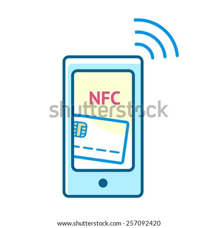 Mobile payment processing concept. Modern smartphone with credit card and NFC on its screen and radio wave outside. Near field communication technology.Vector line illustration for your design  - stock vector