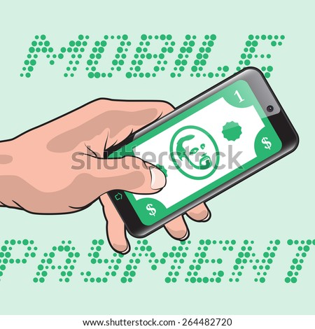 Mobile Payment using Smartphone and Credit Card, Online Banking Communication Technology - stock vector