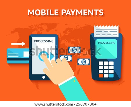 Mobile payments and near field communication. Transaction and paypass and NFC. Vector illustration - stock vector