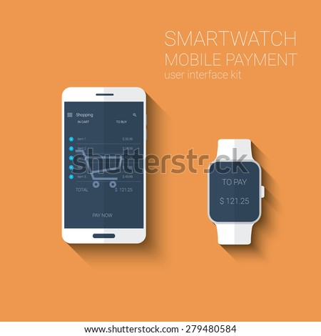 Mobile payments application graphic user interface. NFC technology concept for smartphone and smartwatch. Eps10 vector illustration. - stock vector