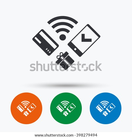 Mobile payments icon. Mobile payments flat symbol. Mobile payments art illustration. Mobile payments flat sign. Mobile payments graphic icon. Flat icons in circles. Round buttons for web. - stock vector
