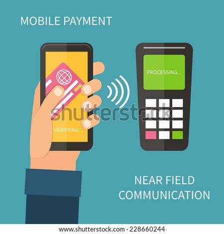 Mobile payments using smartphone, terminal and credit card, near field communication technology, online banking. Flat design vector. - stock vector