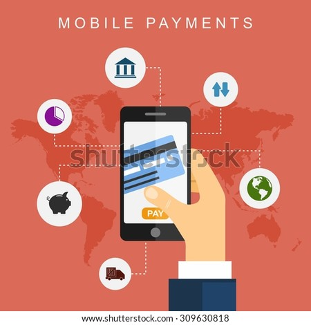 Mobile payments. Vector illustration Flat design - stock vector