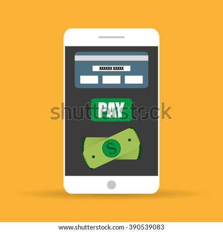 Mobile  payments. White Smartphone with the information on the screen