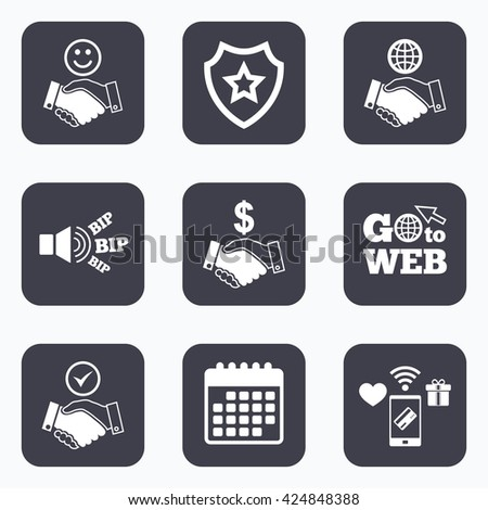 Mobile payments, wifi and calendar icons. Handshake icons. World, Smile happy face and house building symbol. Dollar cash money. Amicable agreement. Go to web symbol. - stock vector