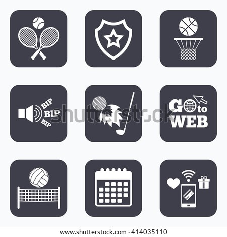 Mobile payments, wifi and calendar icons. Tennis rackets with ball. Basketball basket. Volleyball net with ball. Golf fireball sign. Sport icons. Go to web symbol. - stock vector