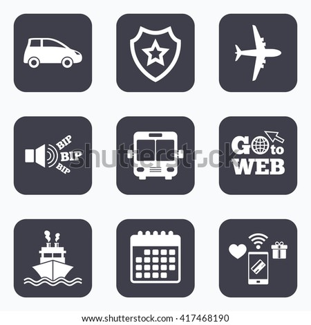 Mobile payments, wifi and calendar icons. Transport icons. Car, Airplane, Public bus and Ship signs. Shipping delivery symbol. Air mail delivery sign. Go to web symbol. - stock vector