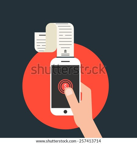 mobile payments with smartphone and paycheck in red circle. concept of shopping, innovations, nfc, retail, sale processing, debit. isolated on stylish background. flat style modern vector illustration - stock vector