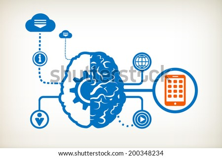 Mobile phone and abstract human brain, the concept of the information movement - stock vector