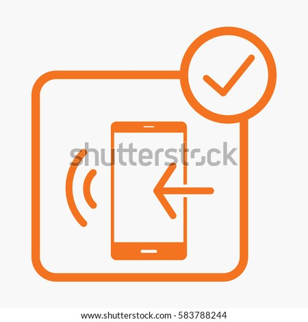 Mobile Phone and Arrow Icon. Symbol Orange Color on White Background. Flat Isolated
