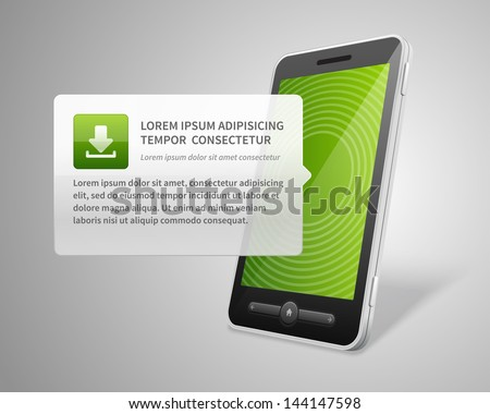 Mobile phone and download vector backgroud - stock vector