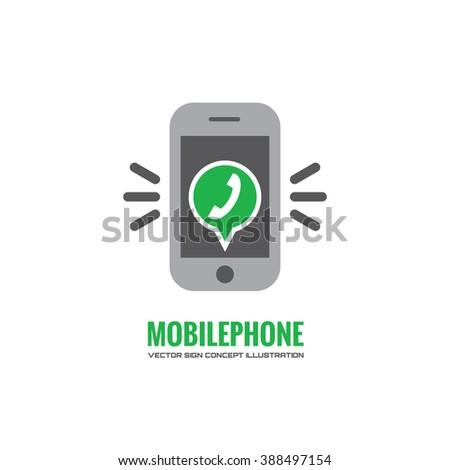 Mobile phone and green speach bubble with telephone handset - vector logo concept illustration. Smarthone vector logo creative illustration. Mobile phone technology logo design. Cellpnone logo. - stock vector