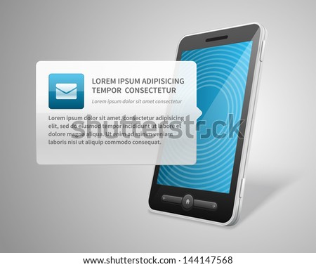 Mobile phone and incoming message icon vector background - stock vector