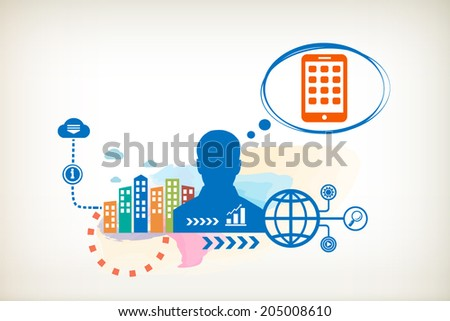 Mobile phone and person with bubbles for dialogue. Think and decide. - stock vector