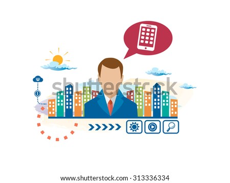 Mobile phone and person with bubbles for dialogue. Think and decide. Concept for business. - stock vector