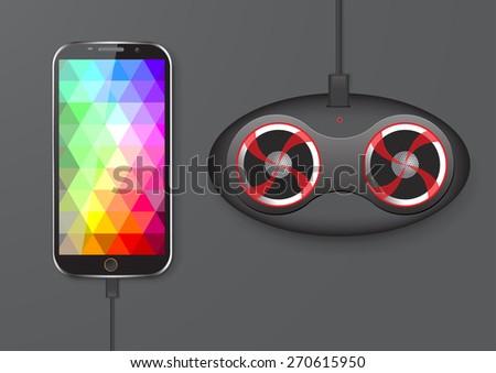 Mobile Phone and Speaker - Vector Illustration - stock vector