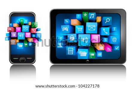 Mobile phone and tablet pc with colorful icons.. Vector. - stock vector