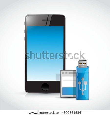 mobile phone and usb and memory card illustration design graphic - stock vector