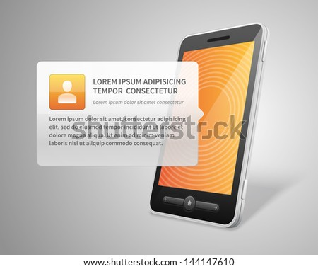 Mobile phone and user profile icon vector backgroud - stock vector