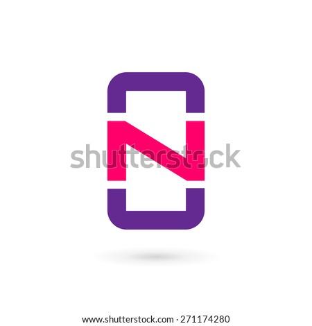 Mobile phone app letter N logo icon design template elements - stock vector