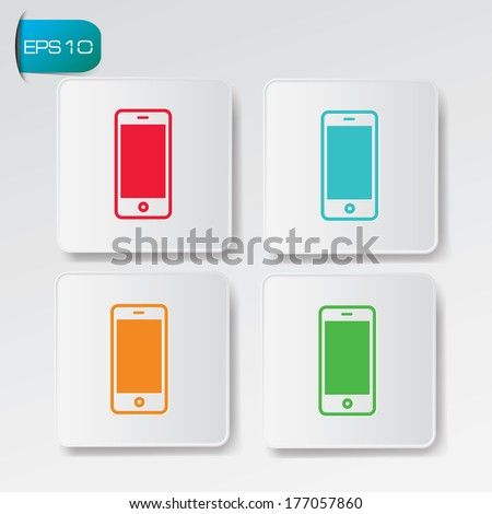 Mobile phone buttons,vector - stock vector