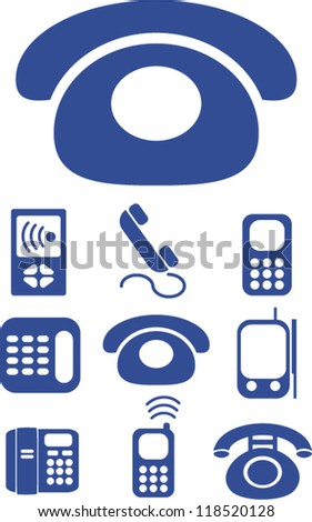 mobile phone call & smart phone icons set, vector - stock vector
