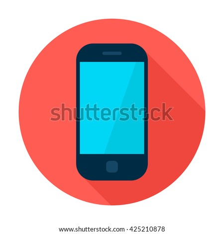 Mobile Phone Circle Icon. Vector Illustration Flat Style Round Icon with Long Shadow. Electronic Gadget. - stock vector