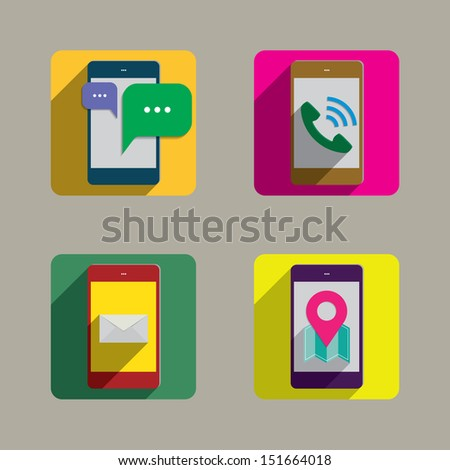 Mobile phone Colorful Style Icons set  - stock vector