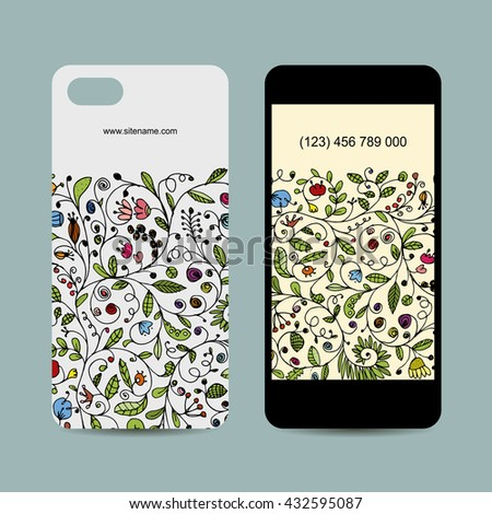Mobile phone cover design. Floral ornament. Vector illustration