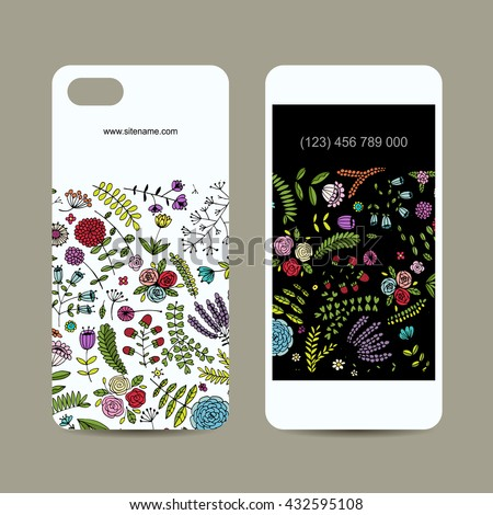 Mobile phone cover design. Floral ornament. Vector illustration - stock vector