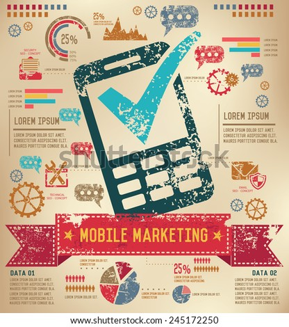 Mobile phone design on old paper background,info graphic,grunge vector - stock vector
