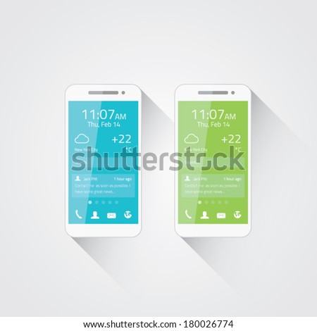 Mobile phone development vector illiustration. Flat user interface design. - stock vector