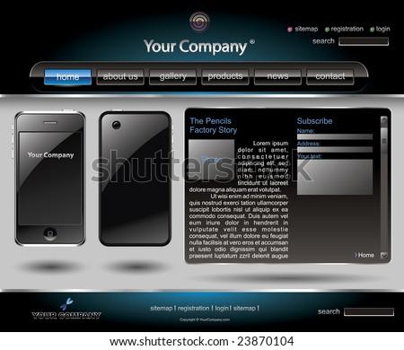 Mobile phone editable website template - stock vector