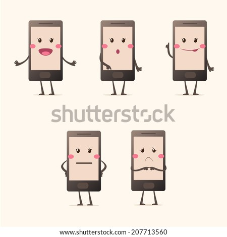 mobile phone emotions - stock vector