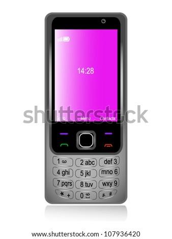 Mobile phone gray - stock vector