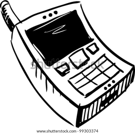 Mobile phone icon doodle cartoon sketch vector illustration - stock vector