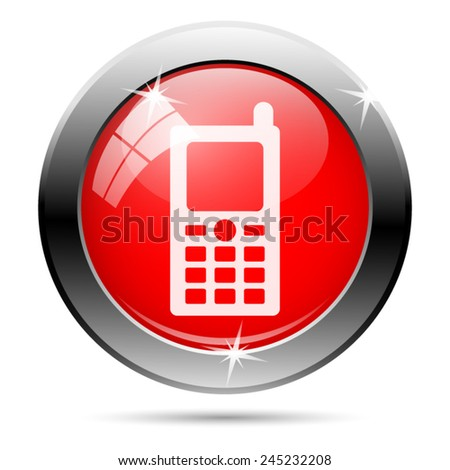 Mobile phone icon. Internet button on white background.  - stock vector