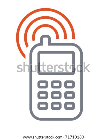 Mobile phone. Icon is aligned according to the pixel grid. It means that the image is prepared to use in small-sizes. It's specifically for the Web. - stock vector