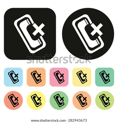 Mobile phone icon. Miss call icon. Mobile function icon. Vector