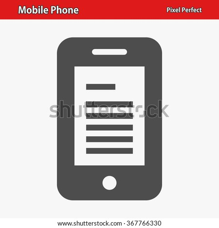 Mobile Phone Icon. Professional, pixel perfect icons optimized for both large and small resolutions. EPS 8 format. - stock vector