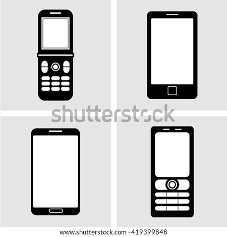 Mobile phone icons - stock vector