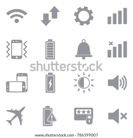 Mobile Phone Icons. Gray Flat Design. Vector Illustration.