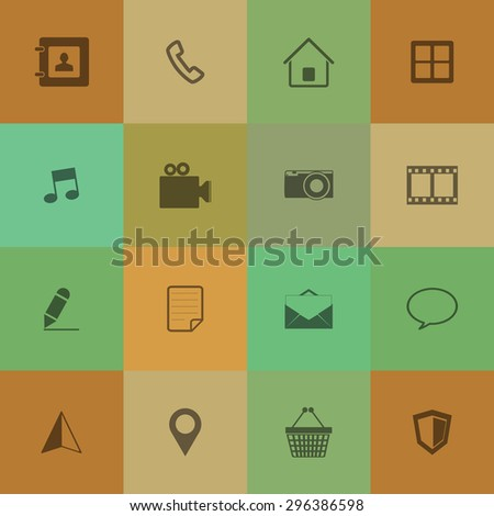 Mobile phone Icons on retro colour background. - stock vector