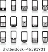 Mobile phone icons set. Vector - stock photo